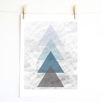 Triangle art. Geometrical print design. Monochrome wall art. Minimal. Pastel color. Blue and Grey triangles. Printable art. INSTANT DOWNLOAD