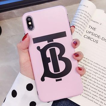 Burberry New fashion letter print  couple protective cover phone case Pink