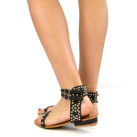 SZ 6 Wild Warrior Black Studded Flat Sandals-OUT OF BOX