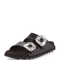 Roger Vivier Strass-Buckle Two-Band Slide Sandal, Black