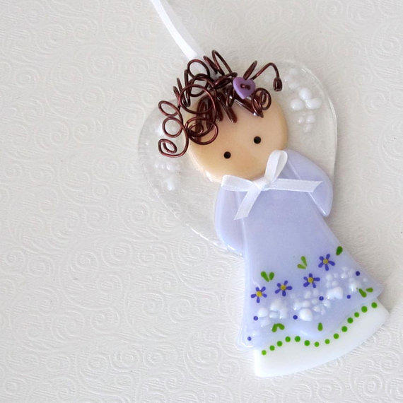 034 Angel Grandma Fused Glass Guardian By From