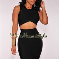 Black Arched Bandage Two Piece Set