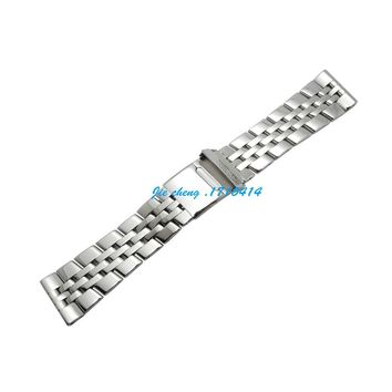 Watchband 20 22 24mm Full Polished Stainless Steel Watch Band Strap Bracelet for Breitling Avenger Navitimer WORLD logo on