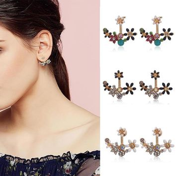 LNRRABC 2018 new Gifts Free Shipping 3 Colors Small Daisy Flowers Hanging After Senior Flower Earrings 1Pair Allergy jewelry