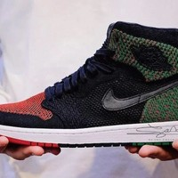 "Air Jordan 1 Retro High Flyknit BHM Basketball Shoes ""Black&Green&Red""AA2426-026"