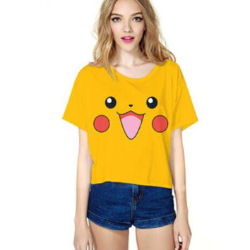 New Pokemon Cartoon Pattern Crop Top Women Camis Pikachu Charmander Squirtle Print tank tops Colorful sleeveless Tee shirt