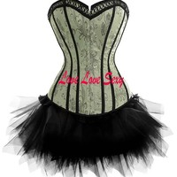 Buy corset, gothic corset, wholesale sexy lingerie, Free shipping!! wholesale gray sexy corset sexy bustier Fashion corsage Sexy lingerie corset+miniskirt+thong 029 at Aliexpress.com