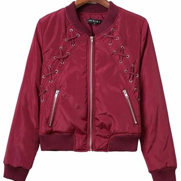 Red Lace Up Bomber Jacket
