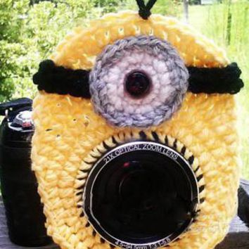 Crochet Yellow Minion Lens Buddy Hood Cover Photographer Gift-LAST CALL - PFLH21