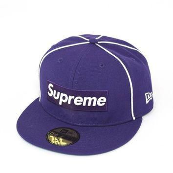 Supreme Piping Box Logo New Era - Navy