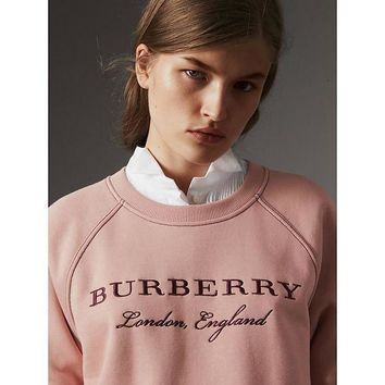 Burberry Trending Women Leisure Embroidery Logo Pink Round Collar Pullover Top Sweater I