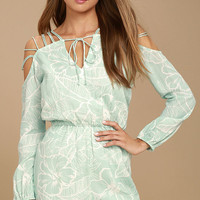 New Friends Colony Hula Mint Blue Floral Print Romper