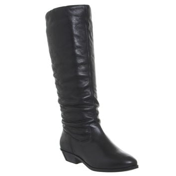 Office Kim Slouch Knee Boots Black Leather - Knee Boots