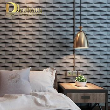 Geometry Pattern Fashion 3D Lattice Wallpaper Grid Abstract PVC Wall Paper Restaurant Barber Shop Decoration