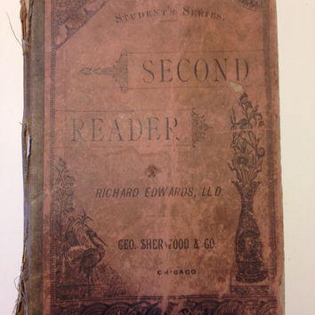 1880 Second Reader School Text Book Antique Geo Sherwood and Co Chicago