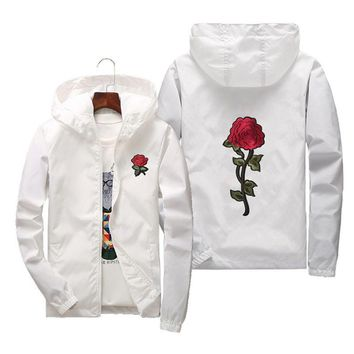 Trendy Women Basic Jackets 2018 Summer Women Hooded Jacket Coats Embroidery Rose Causal Men windbreaker Lightweight Bomber Famale White AT_94_13