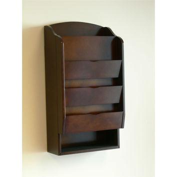 door wall mount organizer letter holder mail sorter in dark walnut