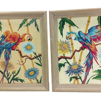 Vintage Parrot Paint by Number Set, Tropical Bird Painting, Macaw Artwork, Vintage PBN Tiki Wall Art, Exotic Tropical Flower Foliage Art