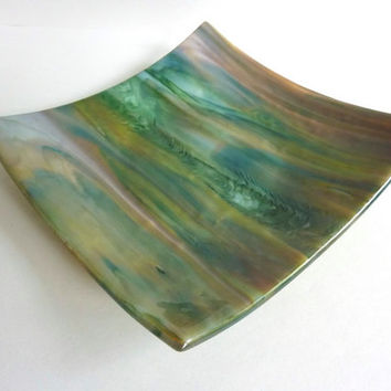 Square Fused Glass Plate in Forest Green, Caramel Brown and White
