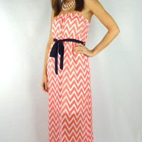 Strapless Chevron Striped Belted Maxi Dress - Coral | .H.C.B.