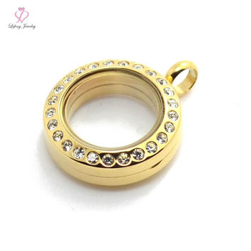 20mm Gold round crystal magnetic origami owl floating charm lockets,316l stainless steel Photo memory locket Pendant P211