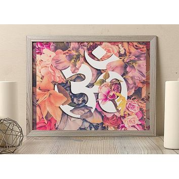 Reiki Charged Ohm Poster Floral Design Flower Poster Bohemian Art Print Poster  Design no frame 20x30 Large
