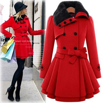 Echoine Women Winter Thick Warm Wool Coat Full Sleeve With Sashes Pockets Outwear Fashion Feather Collar Women Long Trench Coats