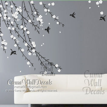 cherry blossom birds nursery wall decals tree vinyl wall decals decal children wall sticker- vine white flower birds Z151 by cuma