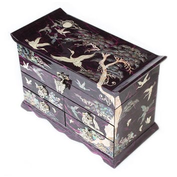 Mother of Pearl Inlay Korean Lacquer Wood Purple Drawer Jewelry Ring Display Trinket Keepsake Treasure Gift Box Case Organizer
