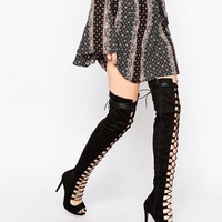 Daisy Street | Daisy Street Black Thigh High Lace Up Boots at ASOS