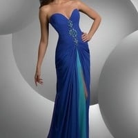 Sheath/Column Sweetheart Royal Blue Sequin Chiffon Floor-length Dress at Dresseshop