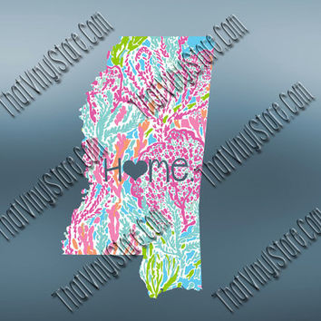 Mississippi Heart Home Decal | I Love Mississippi Decal | Homestate Decals | Love Sticker | Preppy State Sticker | Preppy State | 064