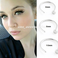 Small Silver Nose Hoop Ring Stud 6mm 8mm 10mm Cartilage Piercing 316L Surgical Steel Body Jewellery Nose Rings & Studs