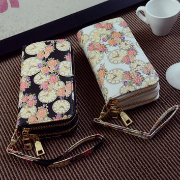 Autumn Wallet Vintage Print Clock Zippers Ladies Purse [6048277569]