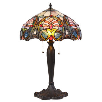 "CHLOE Lighting HAZEL Tiffany-style 2 Light Victorian Table Lamp 16"" Shade"