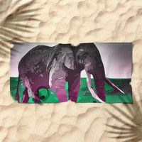 Elephant Beach Towel by Animilustration
