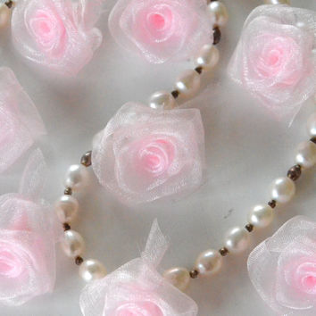 10 Sheer roses,sheer flowers,sheer rose flowers,ribbon flowers,embellishment,hair bows,home decor,sewing,crafts.
