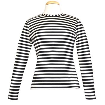 Doris Black Stripe Knit Jersey Top