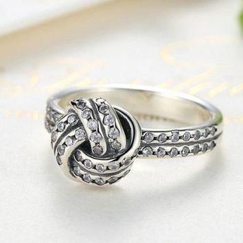 CZ Accented Sterling Silver Love Knot Ring