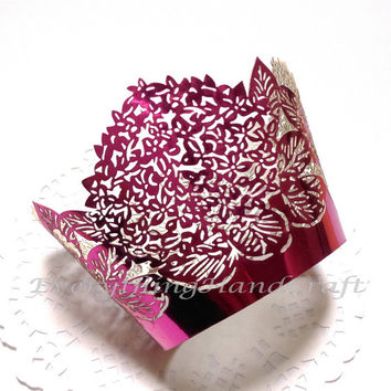Cupcake Wrappers | Wedding Cupcake Liners | Decorative Party Baby Shower Birthday Christams |Metallic Red Floral Filigree (12pcs) (#CP03RD)