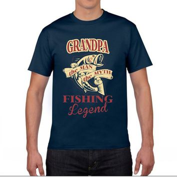 Grandpa The Man The Myth Fishing Legend T-Shirts - Men's Top Tee