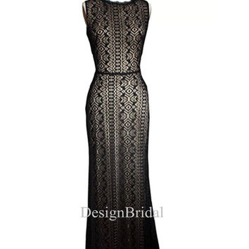 2014 NEW Unique Black Lace Evening Dress,Black Long Evening Dress,Maxi Lace Evening Gown,Black Prom Dress, Women Elegant Formal Dress Gown