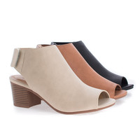 Harlyn Peep Toe Ankle Wrap Velcro Stacked Heel Ankle Booties