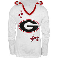 Georgia Bulldogs - Girls Youth Burnout Hooded Long Sleeve T-Shirt