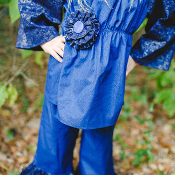 Blue Hanukkah Outfit for Girls, Toddler Girls and Preteens in sizes 2t to 14 years, Chanukkah Peasant top and Ruffled Pants by PinkMouseKids