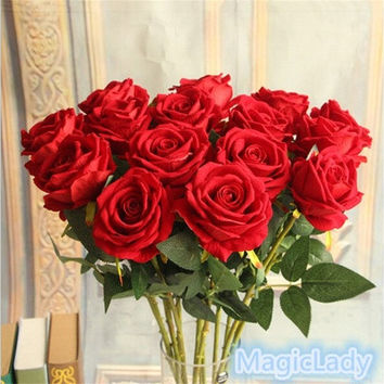 New Fashion Creative Beautiful Fake Silk Flowers Home Wedding Craft Single Rose Decor Artificial Party Garden [7981619399]