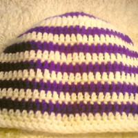 purple and white striped beanie skullcap crocheted child's skullcap adult skullcap teen skullcap