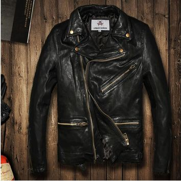 2016 Vintage BLACK flight bomber jacket sheepskin cowskin fur coat collar pilot leather jacket mens male boys motorcycle blazer