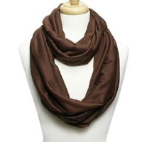 Elegant Solid Color Infinity Loop Jersey Scarf (chocolate)