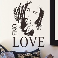 new BOB MARLEY GRAPHIC ONE LOVE Music Fan Wall Decal Stickers Room Mural Room Decor